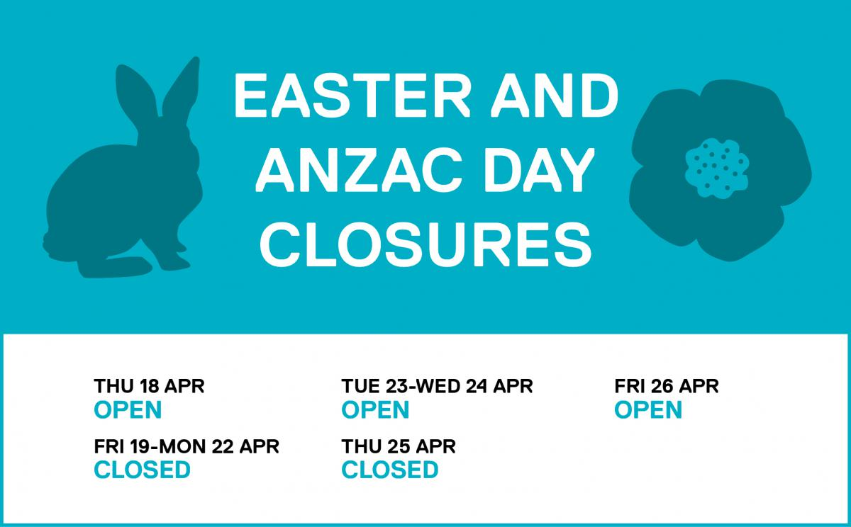 ANZAC and Easter closures