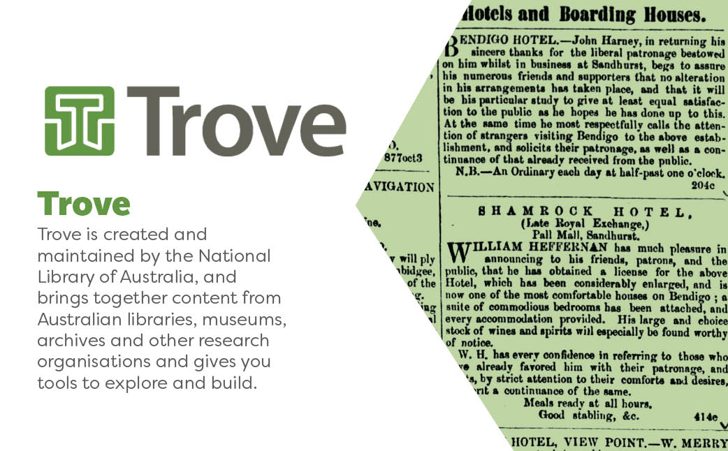 Trove is created and maintained by the National Library of Australia and brings together content from Australian libraries, museums, archives and other research organisations and gives you tools to explore and build.